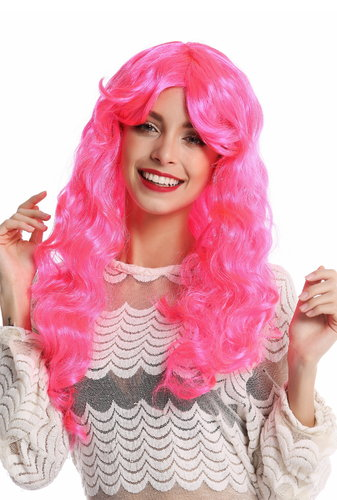 91249-PC5 Wig Ladies Women Halloween Carnival very long curly curls voluminous pink parting