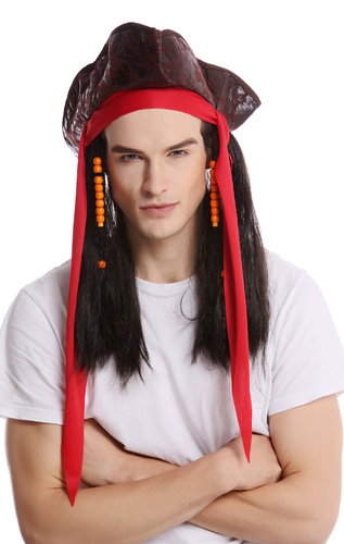 Wig & Tricorn Cocked Hat Women Men Carnival Halloween Pirate Captain brown