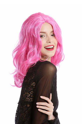 90831-ZAC5B Wig Ladies Women Halloween Carnival Cosplay pink middle parting shoulder length wavy