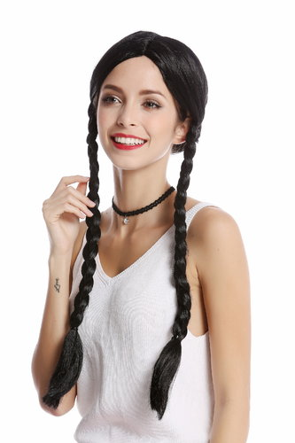 Wig Ladies Women Halloween Carnival black long plaited braids middle-parting Lolita Schoolgirl