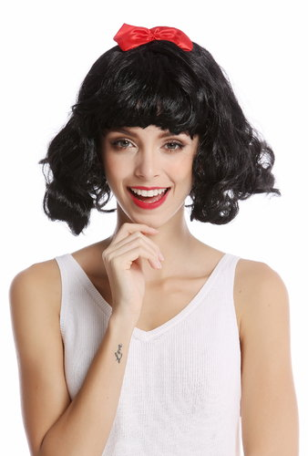 Cute Wig Lady Women Cosplay fringe bangs black shoulder-length Longbob wild wavy red ribbon Lolita