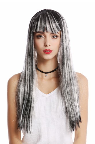 Wig Ladies Women Carnival Cosplay black grey silvery streaks straight fringe bangs Disco Glam Alien