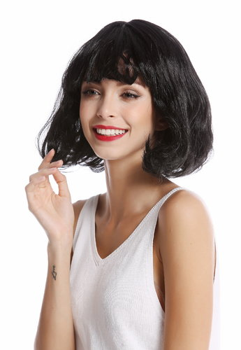 Wig Ladies Women Halloween Carnival Cosplay short Longbob Bob black curving tips bangs fringe