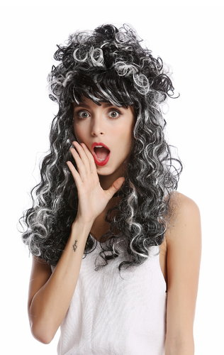 Wig Ladies Women Halloween Baroque Renaissance Beehive long curly grey white black streaked