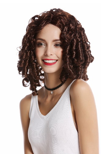 Wig Lady Women Baroque Renaissance Victorian Gothic Lolita corkskrew curls ringlets mahogany brown