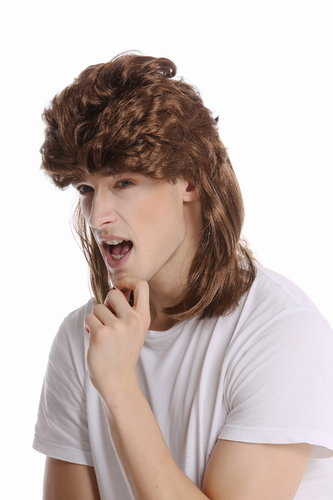 G-2-ZA6 Wig Ladies Men Halloween Carnival mullet brown teased backcombed 80s
