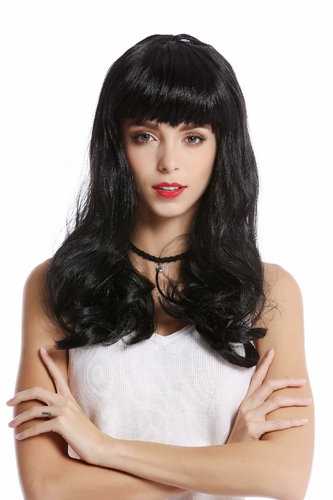 90649-ZA103 Wig Lady Women Halloween Carnival Cosplay black 50s Pin-up Model Burlesque bangs fringe