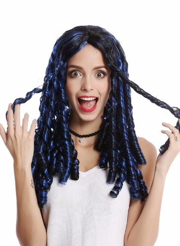 Wig Lady Women Halloween Carnival black blue strands ringlets corkskrew curls Goth Emo Punk