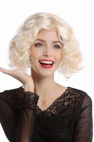 Wig Lady Women 20s 30s Hollywood Diva short curly straightened middle-parting bright blond