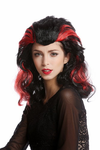 Wig Lady Women Halloween Morgana black long wicked red strands Witch Sorceress Vampire Dark Fairy
