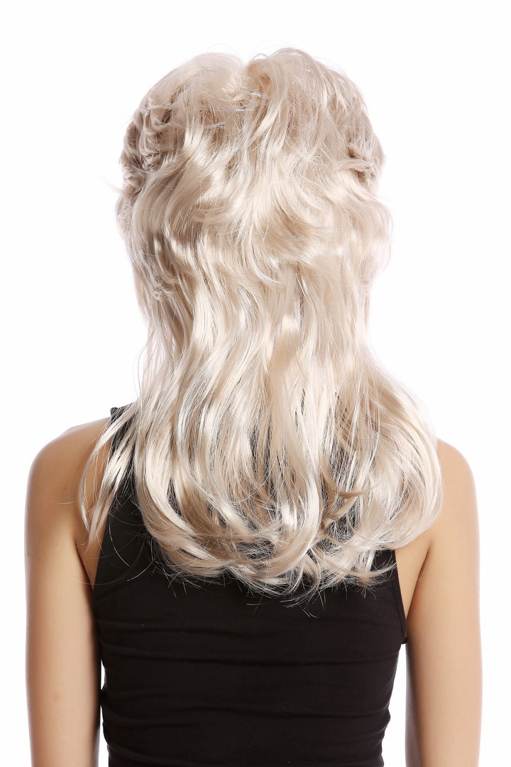 Wig Lady Women Halloween Carnival Cosplay 80s mullet style teased hairdo  wavy Movie Star Diva blond 67bab196eb