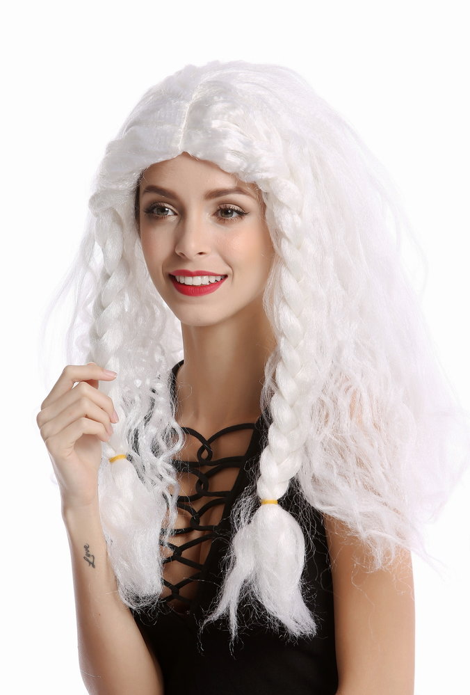 Wig Women Men long white thick braided plaits Ice Princess Snow Queen or old  Viking Barbarian 3ae7fa00b