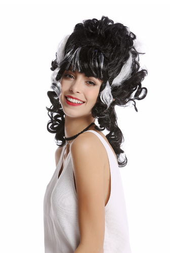 Wig Lady Women beehive black white lightning streaks Bride Frankenstein Dark Countess Vampire