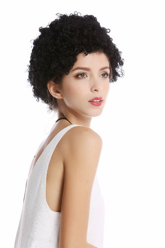 90646-K01 Wig Lady Man Carnival Halloween short Afro frizzy curls curly black