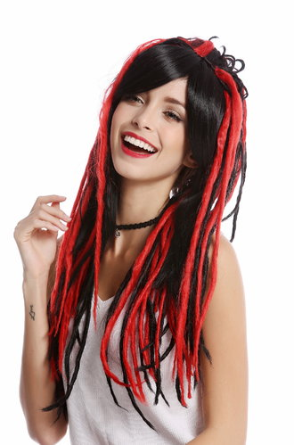 GF-W2416-1BHRED Lady Quality Wig Cosplay long straight parting rasta dreadlocks black and red