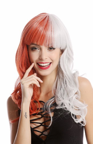 Lady Quality Wig Cosplay extravagant split half red half gray Harlequin bangs long slightly curly