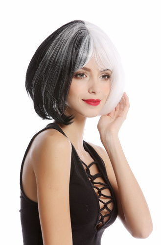 GF-W2289-1+1001 Lady Quality Wig Bob Cosplay split vertical black & white half