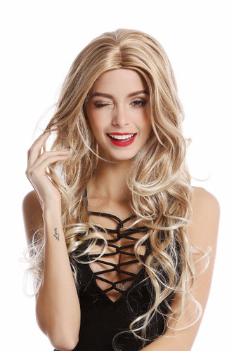GF-W2080-27T613 Lady Quality Wig very long middle parting wavy Blond mix platinum tips