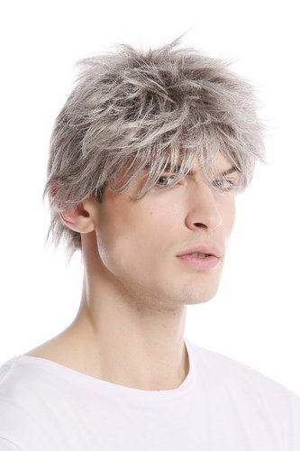 Men Gents Wig short casual to wild backcombed teased up youthful modern look silver gray grey