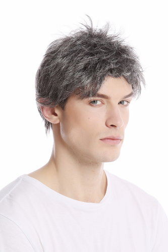 Men Gents Wig short casual to wild backcombed teased up youthful modern look dark gray grey