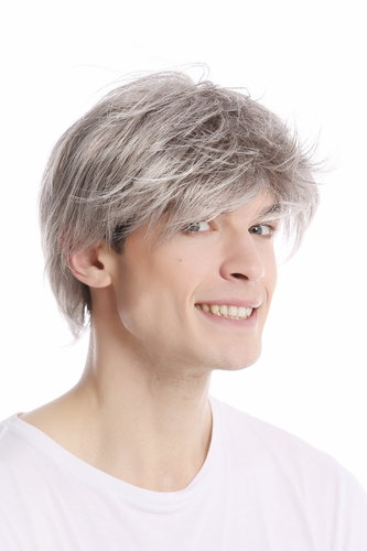 Men Gents Wig short casual to wild backcombed teased up youthful modern look silver grey gray