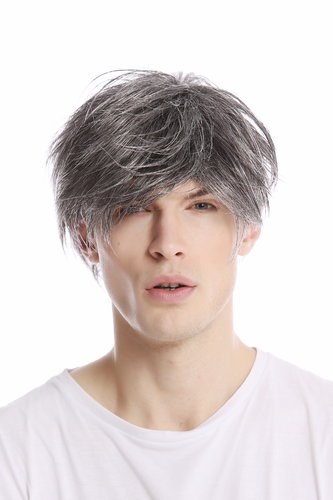 Men Gents Wig short casual to wild backcombed teased up youthful modern look dark grey gray