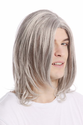 Men Gents Wig long straight middle parting aged rock star youthful modern look silver gray grey