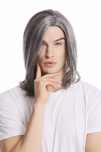Men Gents Wig long straight middle parting aged rock star youthful modern look dark gray grey