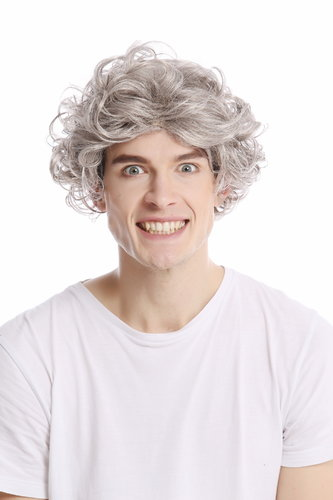 Men Gents or Lady Wig short casual to wild curly voluminous youthful look silver gray grey