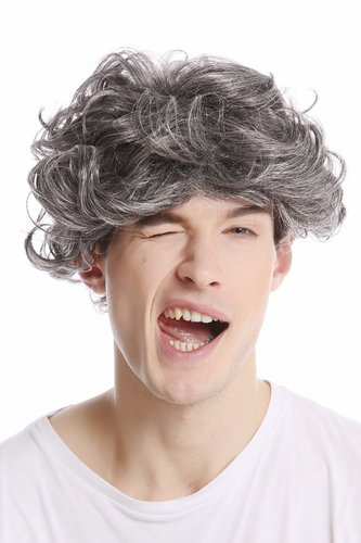 GFW963-44 Men Gents or Lady Wig short casual to wild curly voluminous youthful look dark gray grey