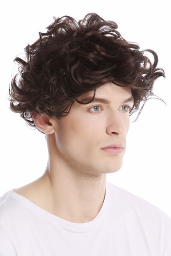 GFW963-44 Men Gents or Lady Wig short casual to wild curly voluminous look medium brown