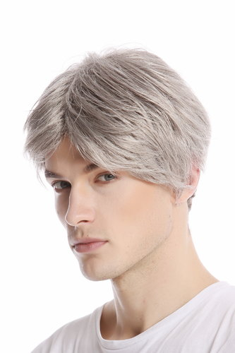 GFW967-51 Men Gents Wig short middle parting casual youthful modern look light grey gray