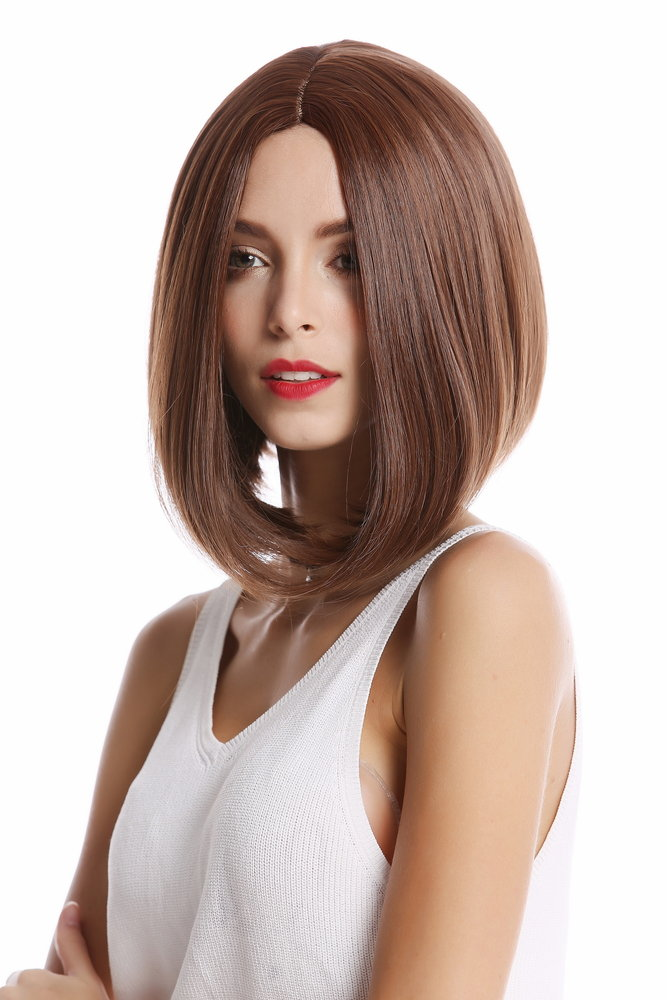 Lady Quality Wig Short Shoulder Length Bob Straight Middle Parting Dark Medium Rust Brown Mixed