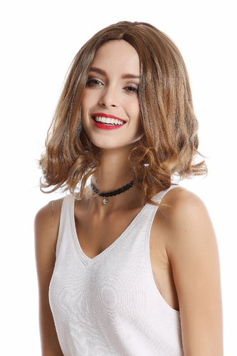 Lady Quality Wig short shoulder length Bob straight but curly tips strawberry blond middle-parting