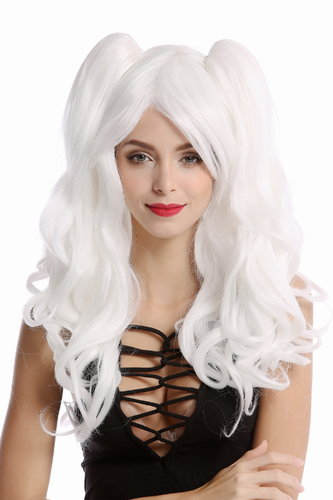 YZF-4379-1001 Lady Quality Cosplay Wig 2 removable pigtails ponytails long Gothic Lolita white