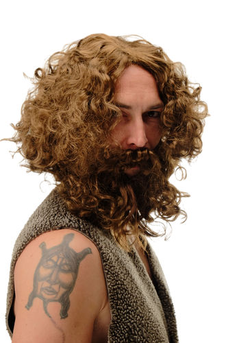 6098A+B-P6 Wig & Beard set Halloween Carnival Stone Age Men Wild Man hermit hipster light brown
