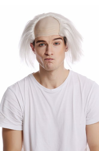 Wig Halloween Carnival crazy old half bald white grey hair Igor Einstein Frankenstein Grandpa Igor