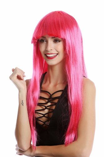 -1373-PC41 Lady Wig Halloween Carnival long straight bangs glam disco dancer pink
