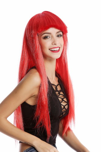 -1373-PC13 Lady Wig Halloween Carnival long straight bangs glam disco dancer red