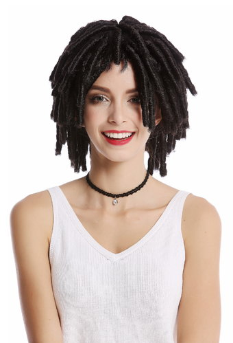 DH1110-ZA1 Wig Men Ladies Halloween Afro Caribbean style ringlets curls rasta volume brown