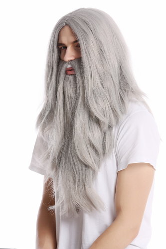 PW0210-ZA68E Wig & Beard Halloween carnival long smooth gray grey Wizard sorcerer Prophet Old Biker