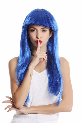 -1373-PC3 Lady Wig Halloween Carnival long straight bangs glam disco dancer blue