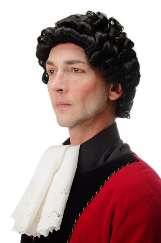 Men Man Quality Wig Historic Theater Baroque Renaissance Noble Courtier Lord short curls black