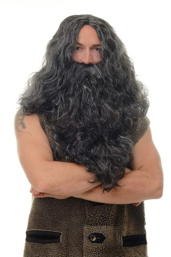 Wig & Beard set men Halloween Carnival black prophet Sadhu Guru Jesus Hipser Viking Wild Man