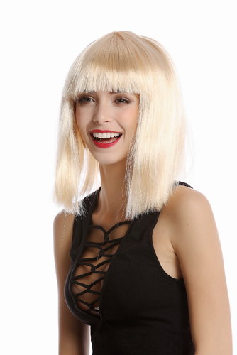 91325-ZA02 Lady Wig Halloween Carnival Disco bob longbob shoulder length bangs blond
