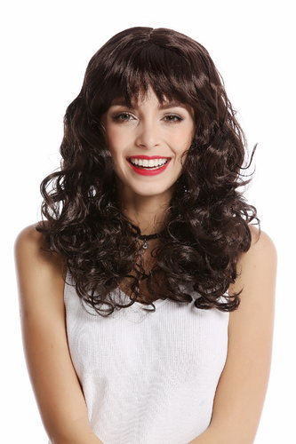 XH-083-ZA2 Lady Party Wig Halloween Carnival volume curly curls bangs dark brown