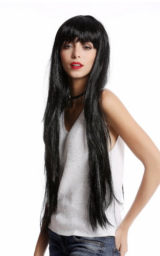 YLX-9501-P103 Lady Wig Halloween Carnival very long smooth bangs black