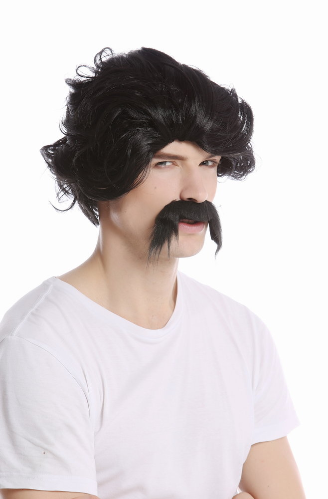 UK OLD PIRATE SELF ADHESIVE BLACK CURL-UP FANCY DRESS MOUSTACHE