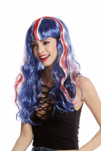 90923 Lady Fan Wig England UK Union Jack long wavy blue white red