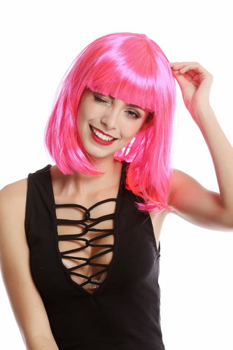 0073-3-PC5 Lady Wig Halloween Carnival Disco bob longbob shoulder length bangs pink